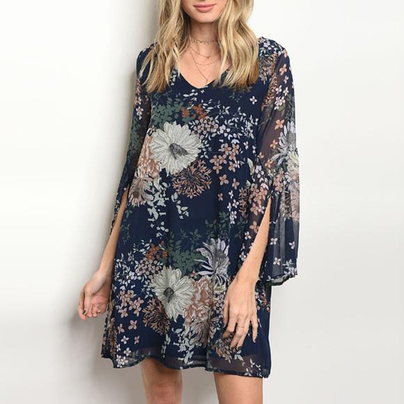 Dresses Navy Blush Floral Shift Tunic Dress Poshmark